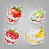 Vector 3d realistische bessen, vruchten in melk Stock Afbeeldingen