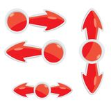 Vector 3d red glossy glass arrows design elements. Vector 3d red glossy glass arrows set for design Vector Illustration