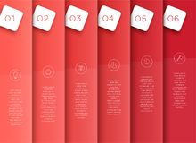 Vector 3D Red Vertical Text Banner Template Steps 1 to 6. Vector template made of overlapping red, vertical banners with steps 1 to 6 to divide the page in to stock illustration