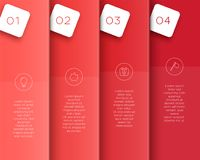 Vector 3D Red Vertical Text Banner Template Steps 1 to 4. Vector template made of overlapping red, vertical banners with steps 1 to 4 to divide the page in to vector illustration