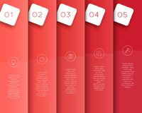 Vector 3D Red Vertical Text Banner Template Steps 1 to 5. Vector template made of overlapping red, vertical banners with steps 1 to 5 to divide the page in to stock illustration