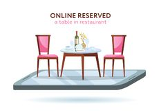 Vector 3d restaurant online booking concept. Smartphone with served table and 2 elegant chairs. Red wine bottle, tray, glasses, stock illustration