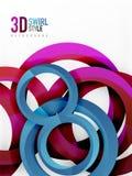 Vector 3d rings design background. Vector 3d rings and swirls design background Stock Image