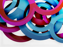 Vector 3d rings design background. Vector 3d rings and swirls design background Stock Photo