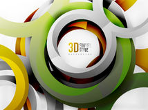 Vector 3d rings design background Royalty Free Stock Image