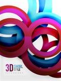 Vector 3d rings design background. Vector 3d rings and swirls design background Stock Photography