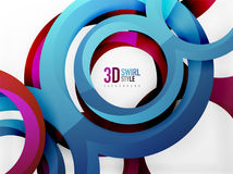 Vector 3d rings design background. Vector 3d rings and swirls design background Royalty Free Stock Photo