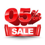 Vector 3d SALE zero five percentage off red Royalty Free Stock Photos