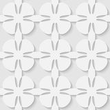 Vector 3d seamless flower abstract pattern. Minimalistic monochrome background for decoration, wallpaper and print. Eps10 Royalty Free Stock Photo