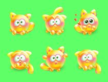 Vector 3d set of emotional little kittens. Realistic multi-colored cat with different emotions on her face. Stock Image