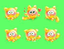 Vector 3d set of emotional little kittens. Realistic multi-colored cat with different emotions on her face. Stock Images