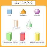 Vector 3d shapes.Educational poster for children.set of 3d shapes.  solid geometric shapes. Cube, cuboid, pyramid, sphere, Stock Photo