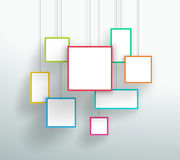 Vector 3d Simple Colorful Hanging Square Frames Design. Vector 3d colourful square boxes hanging from wires with blank space for text or pictures with editable Royalty Free Stock Images