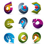 Vector 3d simple navigation pictograms collection. Set of colorf Royalty Free Stock Images