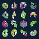 Vector 3d simple navigation pictograms collection. Set of green Royalty Free Stock Image