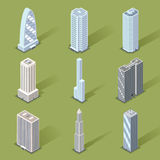 Vector 3D Skyscraper Graphic Designs. Assorted Three Dimensional Skyscraper Graphic Designs on Light Green Background Royalty Free Stock Photography
