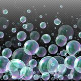 Vector 3d soap transparent bubbles. Water spheres, realistic balls, soapy balloons, soapsuds. Glossy foam aqua, bright abstract illustration Royalty Free Stock Photo
