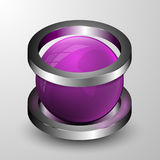 The vector 3d sphere with two rings. Realistic illustration Royalty Free Stock Photo