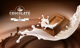 Vector 3D splashes of melted chocolate and milk with falling pieces of chocolate bars. Royalty Free Stock Photos