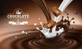 Vector 3D splashes of melted chocolate and milk with falling pieces of chocolate bars. Stock Photography