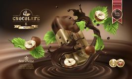 Vector 3D splashes of melted chocolate and milk with falling pieces of chocolate bars. Splashes of melted chocolate with falling chocolate bar in a torn wrapper Stock Images