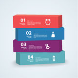 Vector 3d template. Four boxes with place for your content Stock Images
