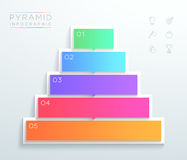 Vector 3d Text Boxes 1 to 5 Stacked Pyramid Infographic C. Vector pyramid infographic with 5 blank, colorful text boxes with arrows pointing to the next step, on Stock Image