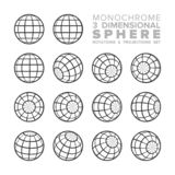Vector 3d three dimensional monochrome sphere rotations and projections set royalty free illustration