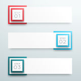 Vector 3d 1 to 3 Text Box Banner Steps Infographic A. Vector 1 to 3, numbered white text box banner infographic with blank space for text and editable Royalty Free Stock Photo