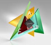 Vector 3d triangle abstract background. Glass geometry shapes Stock Photos