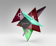 Vector 3d triangle abstract background. Glass geometry shapes Stock Image