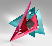 Vector 3d triangle abstract background. Glass geometry shapes Stock Photography