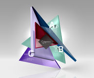 Vector 3d triangle abstract background. Glass geometry shapes Royalty Free Stock Photo