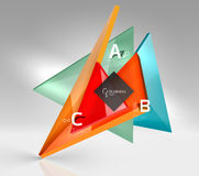 Vector 3d triangle abstract background. Glass geometry shapes Royalty Free Stock Images
