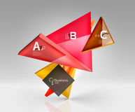 Vector 3d triangle abstract background. Glass geometry shapes Stock Images