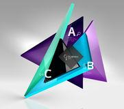 Vector 3d triangle abstract background. Glass geometry shapes Royalty Free Stock Photography