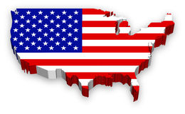 Vector 3D USA map flag. A Full Vector, Extruded map of the United States, highly detailed and colored with national flag theme Stock Image