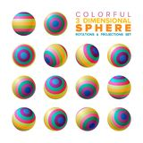 Vector 3d vibrant color striped sphere rotations and projections set royalty free illustration