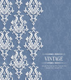 Vector 3d Vintage Background for Greeting or Invitation Card with Floral Damask Pattern Stock Image