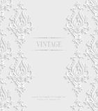 Vector 3d Vintage Invitation Card with Floral Damask Pattern. Vector 3d Vintage Wedding or Invitation Card with Floral Damask Pattern Stock Photography