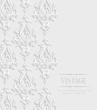 Vector 3d Vintage Invitation Card with Floral Damask Pattern. Vector 3d Vintage Wedding or Invitation Card with Floral Damask Pattern Royalty Free Stock Image