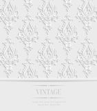 Vector 3d Vintage Invitation Card with Floral Damask Pattern. Vector 3d Vintage Wedding or Invitation Card with Floral Damask Pattern Royalty Free Stock Photography