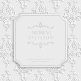 Vector 3d Vintage Invitation Card with Floral Damask Pattern. Vector 3d Vintage Wedding or Invitation or Greeting Card with Damask Floral Pattern Royalty Free Stock Photos