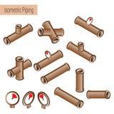 Vector 3d vlakke isometrische illustratieinzameling van gedetailleerde Bouwstukken Stock Foto
