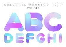 Vector 3D Vloeibare Verfbrieven Kleurrijke Neon Rond gemaakte Doopvont Stock Foto