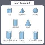 Vector 3d vormen Onderwijsaffiche voor kinderen Reeks 3d vormen Geïsoleerde stevige geometrische vormen Kubusvormige kubus, Royalty-vrije Stock Foto