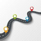 Vector 3d weg infographic illustratie met speld, wijzer Het concept van de straatinformatie De infographic en kleurrijke spelden  Stock Illustratie