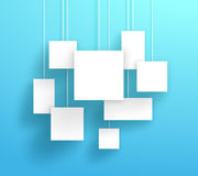 Vector 3d White Boxes Hanging With A Blue Background. Vector 3d white square boxes hanging from wires with blank space for text or pictures with editable Royalty Free Stock Image