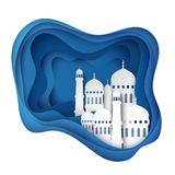 Vector 3D white paper mosque. Ramadan Kareem. Greeting card with arabic origami mosque, waves. Holy month of muslim. Islamic ramadan celebration vector Stock Images