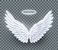 Vector 3d white realistic layered paper cut angel wings royalty free illustration